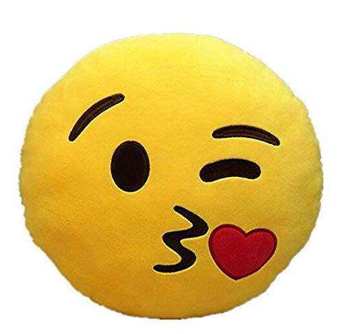 Niedliche weiche Plüsch-Emoji gelbe Emoticon Smiley Runde Kissen gefüllte Spielzeug-Puppe Kissen-küssen