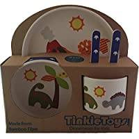 5-Piece Dinosaur Bamboo Dinner Set for Children by TINKIE TOYS: Kids Dining Set Includes Bamboo Plate, Toddler Cutlery, Baby Bowl and Kids Cup/Mug - Eco Friendly, Toxic Free and Dishwasher Safe