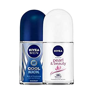Nivea Deodrant Roll On, Cool Kick, 50ml and NIVEA Anti-Perspirant Roll-On, Pearl & Beauty, 50ml