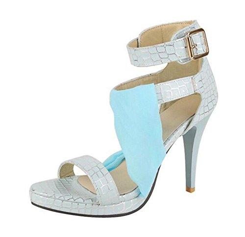 SHINIK Chaussures Femmes Stone Pattern Haut-Tops Sandales Fine Peep Toe Chaussures Romaines Pompes à bride de cheville Light Blue