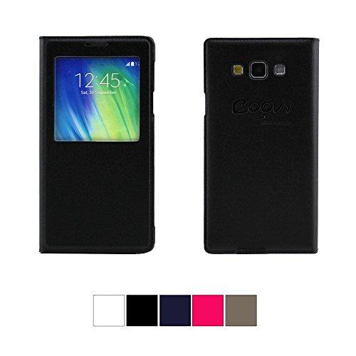 COOVY® ULTRA DÜNNES FENSTER VIEW COVER für Samsung Galaxy A7 SM-A700F SM-A700 Schutz Hülle Sichtfenster Case mit DISPLAYSCHUTZFOLIE Farbe schwarz