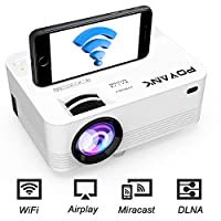 [WIFI Projector] POYANK Projector, Mini Wifi Projector, Video Projector Supports Airplay Miracast DLNA Function, 1080P HD, Connection with Smartphone Tablet Game Console HDMI VGA TF USB, White.
