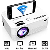 [WiFi Beamer] POYANK Projector Mini WiFi Projector Video Projector Support Airplay Miracast DLNA 1080P FHD Connect to Smartphone Tablet TV Stick Game Console HDMI VGA USB Home Cinema Projector White