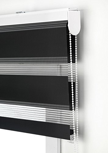 Estor Noche y Día Enrollable a Medida Basic Tejido Color Negro. Medida 85cm x 180cm para Ventanas y Puertas