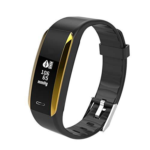 Smartwatch Bluetooth Uhr Sport Smart Watch Armband Sport Uhr Wasserdicht mit Pulsmesser Smart Armband Fitness Tracker Fitness Armband Fitnessuhr Intelligente Uhr Für Herren Damen,Black