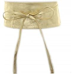 Fashiongen - Cinturón obi cuero artificial Mica - Beige (Dorado), Talla única