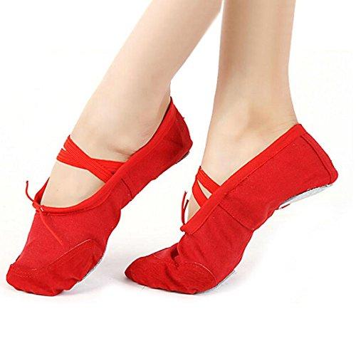 Dança Sapatos Transer® Balé Vermelho Menina Bailarinas De Macias Dança Ginástica Lona rwg1r0qX