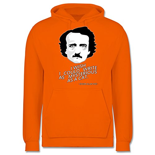 Statement Shirts - Edgar Allan Poe - I wish I could write as mysterious as a cat - Männer Premium Kapuzenpullover / Hoodie Orange