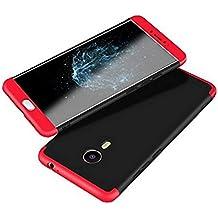 JMGoodstore Funda Meizu M3 Note,Carcasa Meizu M3 Note,Funda 360 Grados Integral para Ambas Caras+Cristal Templado,[ 360°] 3 in 1 Slim Fit Dactilares Protectora Skin Caso Carcasa Cover Rojo+Negro