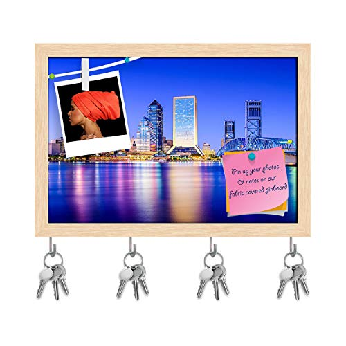 ArtzFolio Downtown City Skyline of Jacksonville, Florida Usa Key Holder Hooks | Notice Pin Board | Natural Brown Frame 17.5 X 12Inch Jacksonville Key