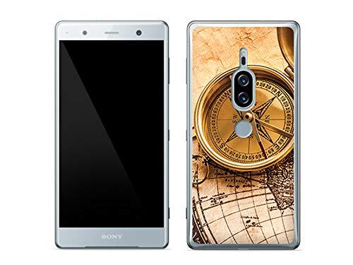 etuo Sony Xperia XZ2 Premium - Hülle Foto Case - Kompass - Handyhülle Schutzhülle Etui Case Cover Tasche für Handy