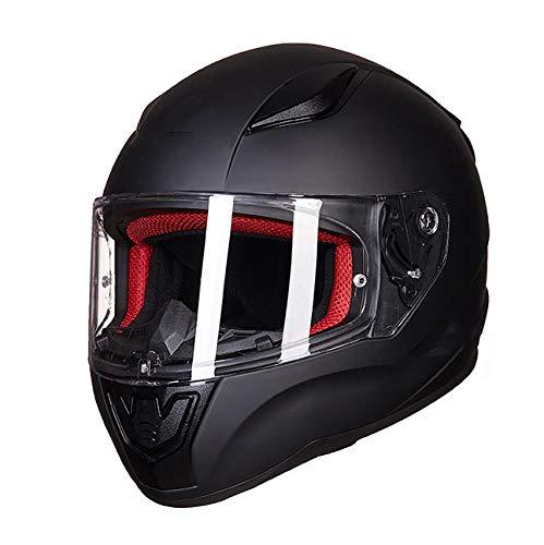 SYLTL Motorrad-Helm Kinder Junge Mädchen Vier Jahreszeiten Vollvisierhelm Jugend Schutzhelm Winter Kinder Fahrradhelm,Schwarz,M