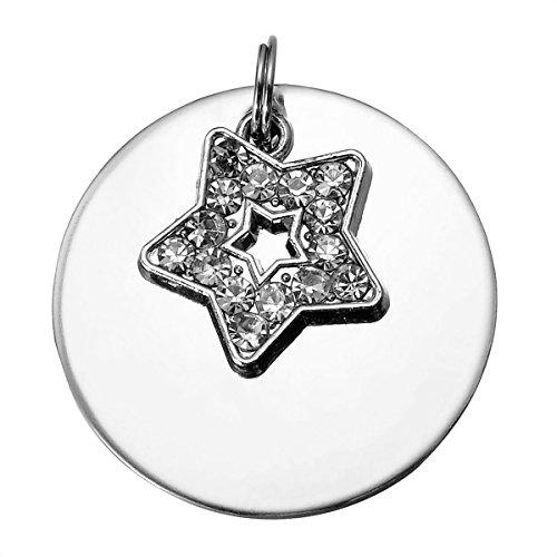 HooAMI DOG TAG Diamant Anhaenger Doppelseitige Polier Hundemarke Haustiere Logo,fuenfzackigen Stern (Logo Sterne)