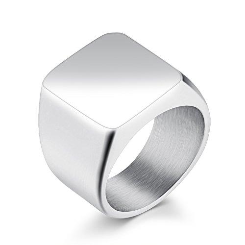 Herren Biker Edelstahl Ring Siegelring Quadrat Band hochglanz, silber/schwarz/gold, Größe 7–11(Silber (Edelstahl), 9) (Prime Freimaurer Ringe)