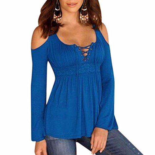 QIYUN.Z Donne Sexy Lunga Tunica Manica Camicie Spalla Fredda Camicie Girocollo Lace-Up Azzurro