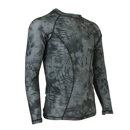 B Blesiya Männer Langarm T-Shirt Nylon Jagd Bionische Tarn Farbig Schnell Trocknend Kleidung - Tarnen L