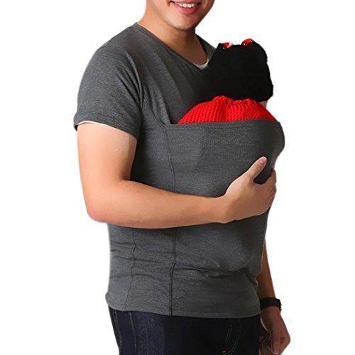 (Känguru T-Shirt,Saingace Männer V-Kragen Kurzarm T-Shirt Papa Baby Shirt Hemden Loose Fit Top Outdoor Baby Carrier Wrap Tank Shirt (L, Dunkelgrau))