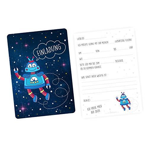 nikima Schönes für Kinder 5 Einladungskarten Roboter mit Silberlack inkl. 5 Briefumschlägen - Kindergeburtstag Junge Weltall Sterne Metallic Sterne Geburtstag Einladung