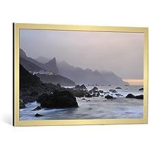 """Cuadro con marco: Andrea Auf dem Brinke """"Misty Almaciga"""" - Impresión artística decorativa con marco de alta calidad, 100x60 cm, Dorado cepillado"""