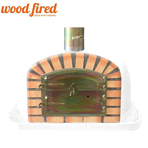 White Deluxe Extra Wood Fired Pizza Oven, Orange Arch, Gold Door, 90cm