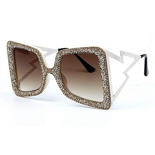 ZHAOSHUNAN Sonnenbrillen Übergroße Sonnenbrille Damen Große, Breite Glitzer Stein Ton Uv400 Brille, A