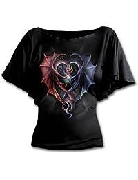 Spiral T-shirt à col bateau et manches chauve-souris pour femme Motif Dragon Heart Noir