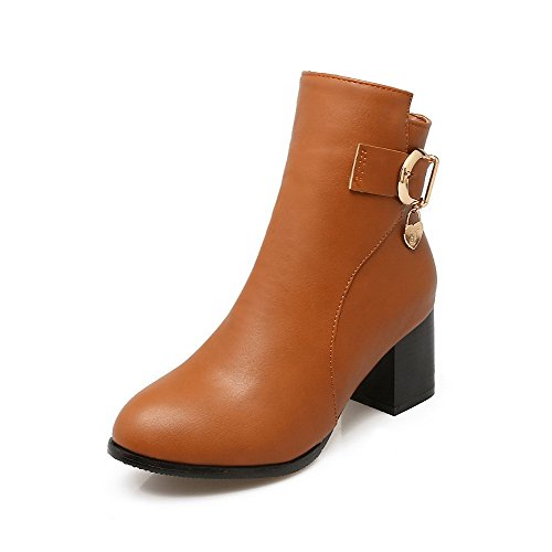voguezone009-womens-soft-material-round-closed-toe-solid-low-top-kitten-heels-boots-brown-39