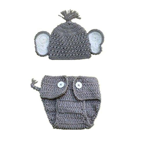 Fuibo Neugeborenen Stretchy Stricken Foto Baby Hut + Shorts Kostüm Fotografie Requisiten (B)
