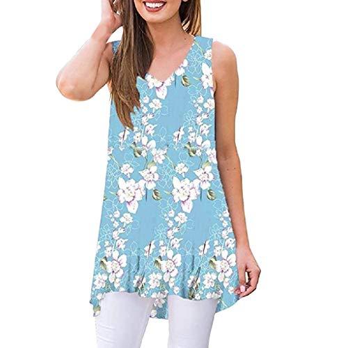 llos Blumen Kleider V-Ausschnitt Strand Swing Kleid Elegant Tunikakleid T-Shirtkleid Lose Tunika Top ()