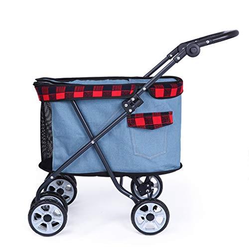 Fashion Allrad-Kinderwagen, Easy Fold Pet Trolley für Katzen, Hunde und mehr, komfortabler Trage-Kinderwagen für mittelgroße und große Katzen oder Hunde Hundebuggy