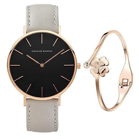XLORDX Classic Damen-Armbanduhr Analog Quarz Grau Leder Armband, Schwarz Zifferblatt mit Elegant Rosegold Armband