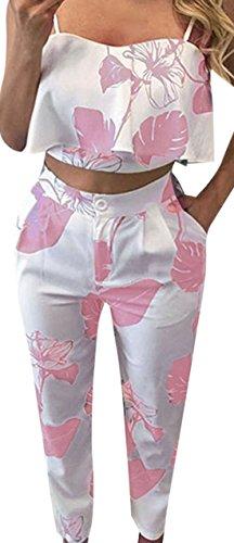 erdbeerloft - Damen 2-teiliges Outfit, Hose und Crop Top mit Blätter Print, Rosa, Größe M (Rosa Nadelstreifen-blazer)