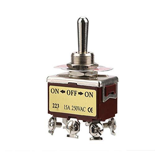 AC 250V Kippschalter, 3 Positionen, ON-OFF-ON 6-poliger Kippschalter, 12mm-Halterung -