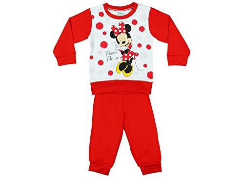 Kinder Mickey Kostüm Maus Pyjama - Mädchen Kinder und Baby Schlaf-Anzug in Rot Baumwolle, Grösse 86 92 98 104 110 116 122 von Disney Minnie Mouse, 3-6-9-12 Monate oder 1 2 3 Jahre 2Teiliger Pyjama Set Langarm Größe 122