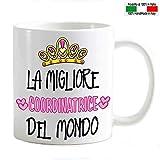 My Cust Tazza Mug Personalizzabile coordinatrice Migliore del Mondo Corona di Cuori
