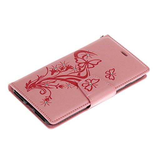 Voguecase® Pour Apple iPhone 7 Plus 5,5 Coque, Étui en cuir synthétique chic avec fonction support pratique pour Apple iPhone 7 Plus 5,5 (Pissenlit-diamant-Gris)de Gratuit stylet l'écran aléatoire uni Papillons VIII-diamant-Pink