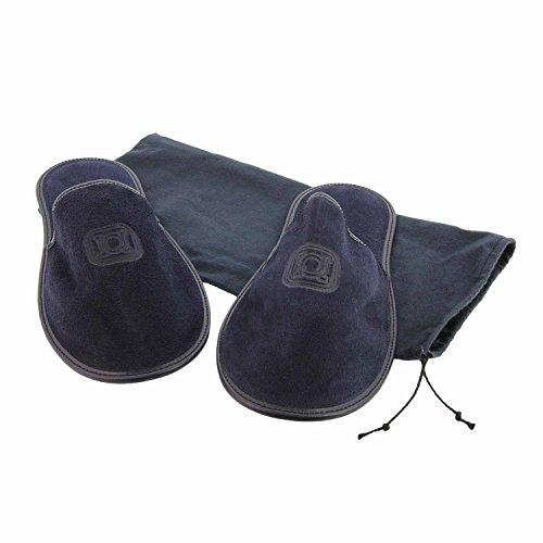 Zapatillas de viaje en piel serraje con funda de tela Talla: G Color: MARINO