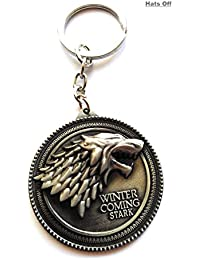 Game Of Thrones 3D Wolf Key Chain | Silver Metal Key Ring