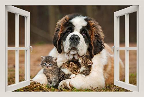 Unified Distribution Bernhardiner Hund Kätzchen kuscheln - Wandtattoo mit 3D Effekt, Aufkleber für Wände und Türen Größe: 92x61 cm, Stil: Fenster -
