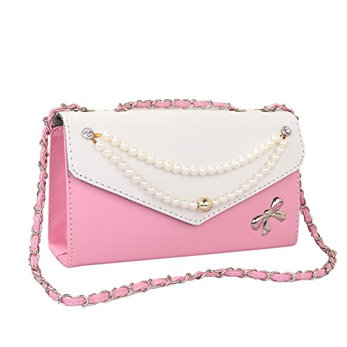 Donne di PU pelle Vintage Borsa Crossbody spalla Borse Bowknot Borsa Viola Pink
