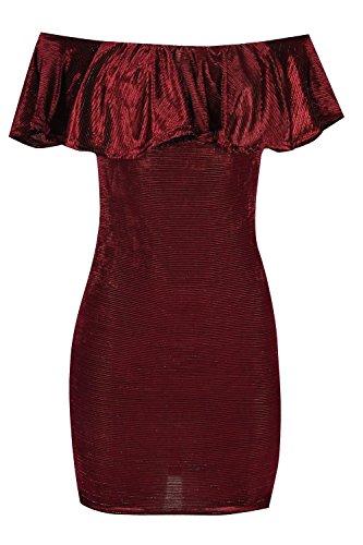 Oops Outlet Damen schulterfrei Bardot Schößchen Rüschen Damen Gerippte Mini Bodycon Bleistift Passform Kleid Wein