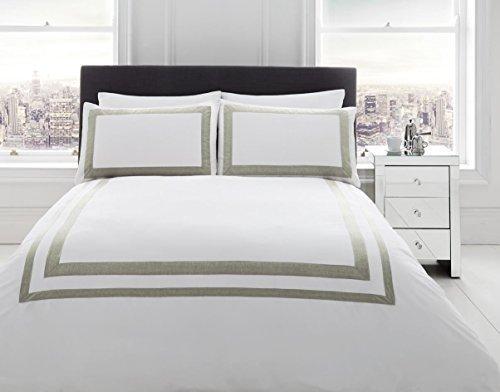 100% cotone 200tc bianco effetto lino Border King Size copripiumino Consolatore