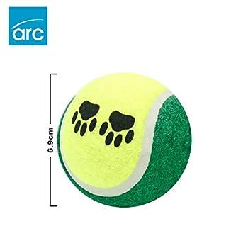 Lot de 12balles de tennis pour chiens?: Pet Jouets pour toutes les Races et de tailles, convient pour jouer à rapporter, formation, et mastication, coloré, motif pattes, des matériaux de construction robuste et sans substances toxiques