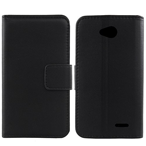 Gukas Design Genuino Cuero Case para LG L65 D280N / L70 D320N Flip Billetera Funda Carcasa De Lujo Autentico Ranuras Tarjetas Piel Premium Cover (Negro)
