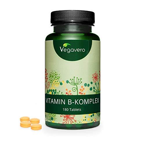 Vitamina B complesso Vegavero® | 180 compresse facili da deglutire | ALTO DOSAGGIO | con Inositolo e Colina | Vegan