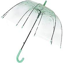 Cúpula de paraguas Transparente Paraguas romántico portátil Sakura Pintura Automático Apertura Transparente Paraguas Largo Mango para