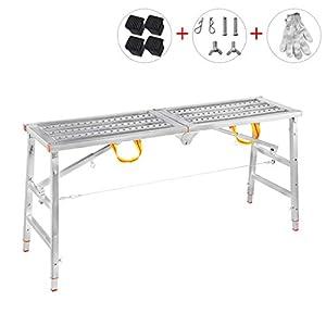 Aleación de Aluminio Multifuncional andamio de elevación Plegable Escalera portátil Escalera de Plataforma doméstica (Tamaño : L-140CM)