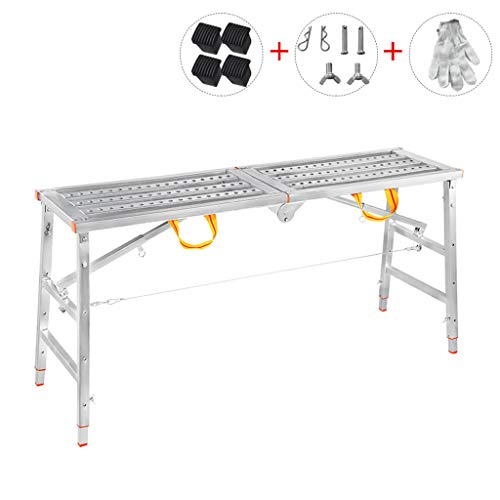 Aleación de Aluminio Multifuncional andamio de elevación Plegable Escalera portátil Escalera de Plataforma doméstica (Tamaño : L-160CM)