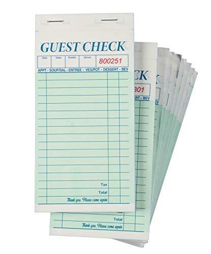 Guest Checks ER-10Kellner Pads, perfekt für Bars, Cafés und Restaurants Bestellungen-Klassisches Design mit Seite Kopieren, Kellnerin Zubehör, 8,6x 17,8cm