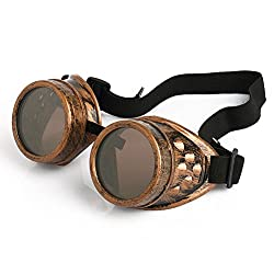 SNNplapla Vintage Steampunk Goggles 2 Pack, Victorian Retro Steampunk Goggle Cyberpunk Goggles for Women, Men, Kids